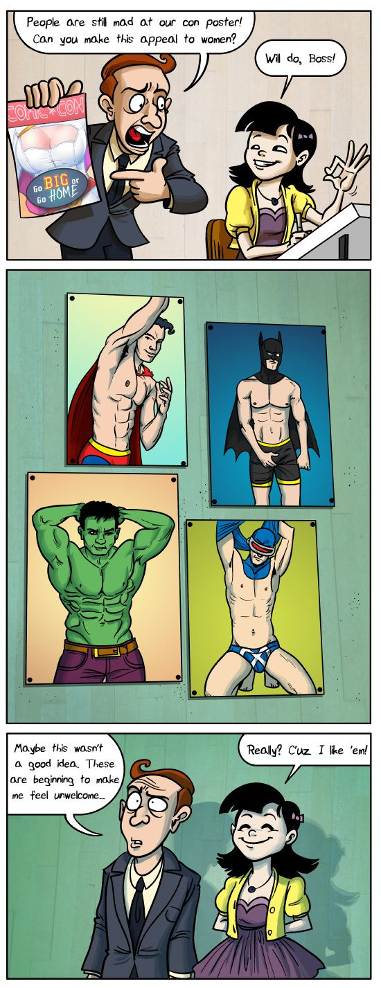 Andrew Dobson's Poster Equality Comics<< a visual explanation behind why the sexy posters of women are not okay.