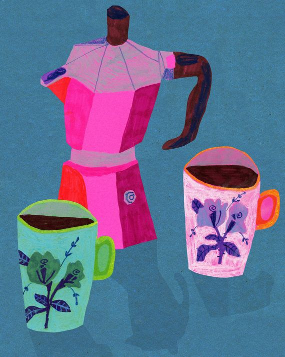 Tea for Two, Coffee for One print on Etsy -Monika Forsberg