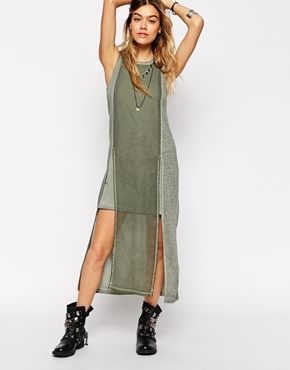 ASOS Military Column Dress In Oil Wash With Woven Mix
