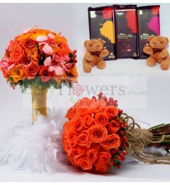 """Two premium bouquet with 24 stem roses and 40 stem Roses and Exotic Lily arranged nicely and """"Three"""" cadbury bournville chocolates with """"Two"""" cute small teddies. #EasyFlowers #FlowersDeliveryIndia"""