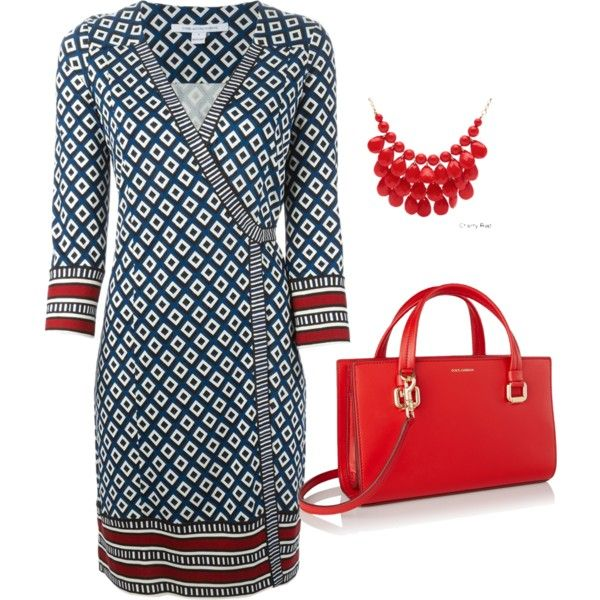 Wrap dress with chunky necklace by lachiner-1 on Polyvore featuring Diane Von Furstenberg, Dolce&Gabbana and Alexa Starr