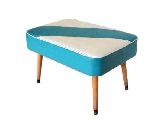 Mid Century Ottoman Turquoise Blue White Foot Stool Upholstered Ottoman Small Footstool Rectangle Ottoman Mid Century Modern Furniture