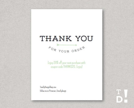 Thank You For Your Order Card Printable Instant Download
