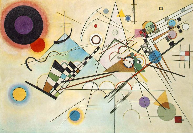 Composition VIII was painted in 1923 by German Expressionist painter, Vassily Kandinsky. He was a founding member of Der Blaue Reiter. These artists shared the philosophy to express spiritual truths through art, often in abstracted forms. Composition VIII reflects the influence of Suprematism and Constructivism absorbed by Kandinsky while in Russia prior to his return to Germany