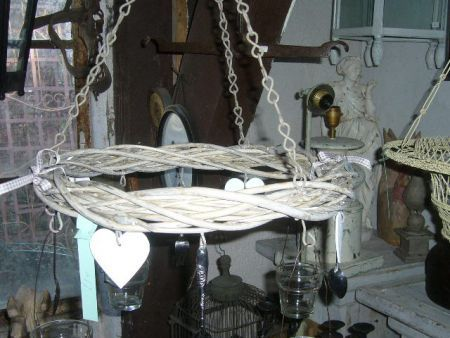 Brocante krans m. waxinelichtjes, vorken, lepels, hartjes