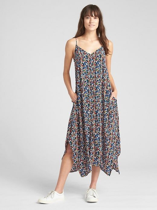 5c68a869352 Gap Womens Cami Floral Print Handkerchief Maxi Dress Black Floral ...