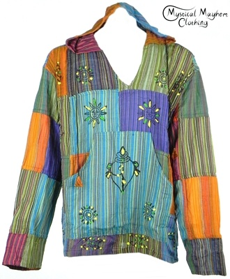Gringo Fair Trade Cotton Patchwork Hooded Hippy Tops in two sizes, s/m and m/l, loads to choose from  and all unique.  Everyone is photographed so you pick the exact one you want.