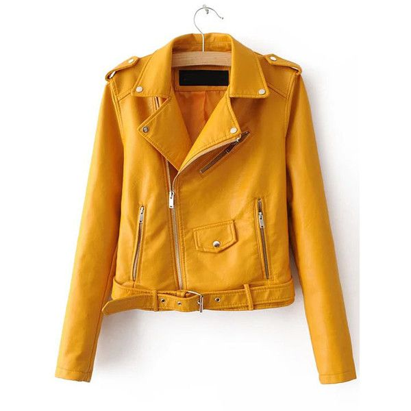 SheIn(sheinside) Yellow Faux Leather Belted Moto Jacket With Zipper ($44) ❤ liked on Polyvore featuring outerwear, jackets, tops, yellow, moto jackets, vegan biker jacket, yellow motorcycle jacket, vegan leather jacket and yellow jacket