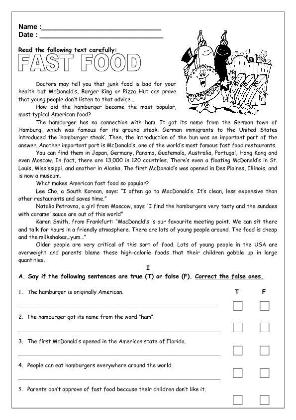 Fast Food Reading My English Printable Worksheets Readingcomprehension4 Reading Comprehension Worksheets Reading Worksheets Reading Comprehension Texts