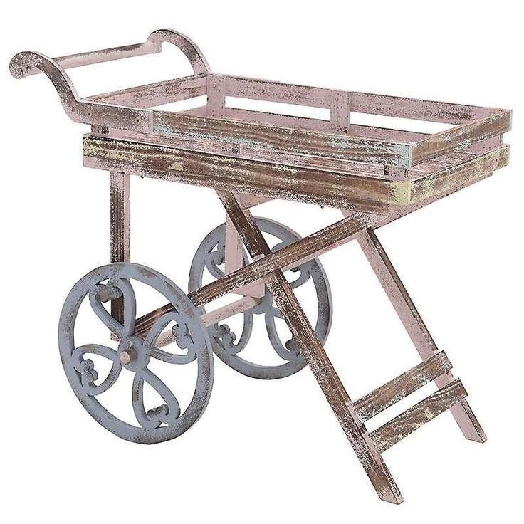 Τραπέζι/ Καρότσι Ξύλινο Ροζ/ Γαλάζιο 82x43x70cm