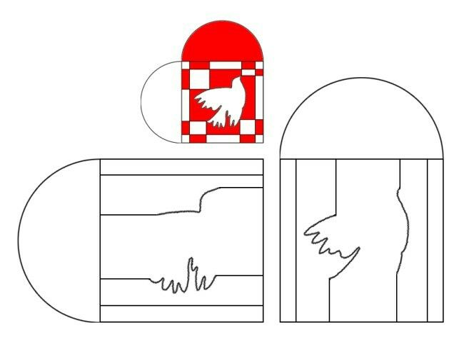 Adorno de ensamblaje paloma. Recortar cada pieza en cartulina de distinto color y montar el puzzle