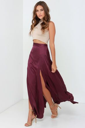 All you need is a hot second to realize the Rise of Dawn Split Second Burgundy Maxi Skirt is what your wardrobe has been missing! Satiny woven fabric falls from a banded waist, into a flowy maxi skirt with two high, sultry side slits. Fastens at back with a small button closure and hidden zipper. Unlined. 100% Polyester. Hand or Machine Wash Cold. Imported.