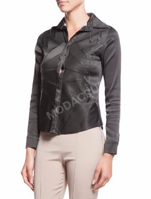 Siyah saten gömlek,uzunkollu Bluz 40 beden