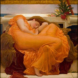 """Flaming June"" by Frederic Lord Leighton, c. 1895, who was an English painter  (1830-1896).  The painting is on display at the Museo de  Arte de Ponce, in Ponce, Puerto Rico. [Wikipedia]"