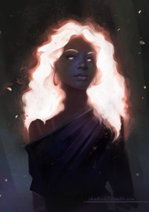 Supernatural Glowing Hair - Illustrated Female Hairstyle -