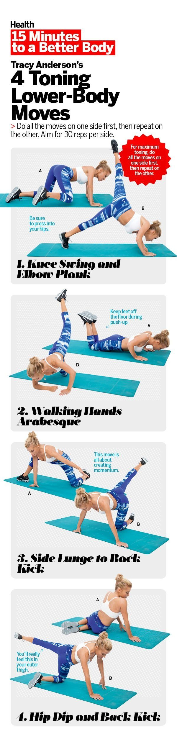 Squats and lunges aren't the only moves that will get your lower body in top form. In this video, Health contributor Tracy Anderson demonstrates 4 exercises that target those tough-to-reach muscles that help you pull in your stomach, boost your backside, and sculpt your thighs.   Health.com
