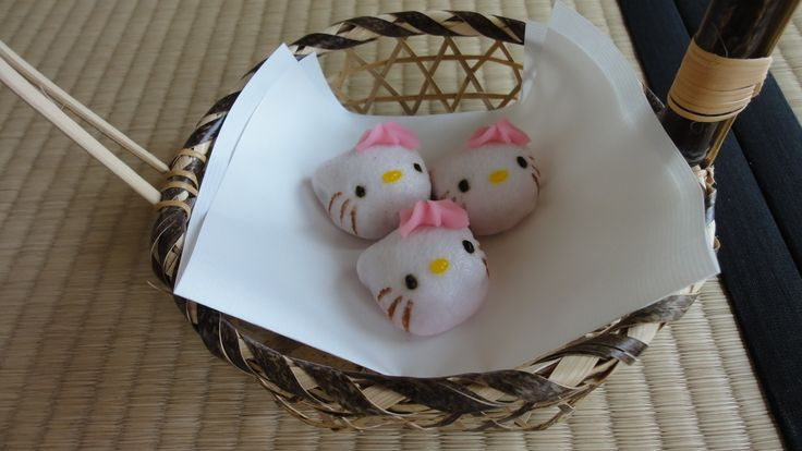 "Hyper cute kawaii Hello kitty manju for the Japanese tea ceremony. Handmade by ""wagashi' confectionery chef."