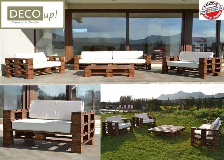 Juego de terraza en madera para 8 personas for Bar de madera chile