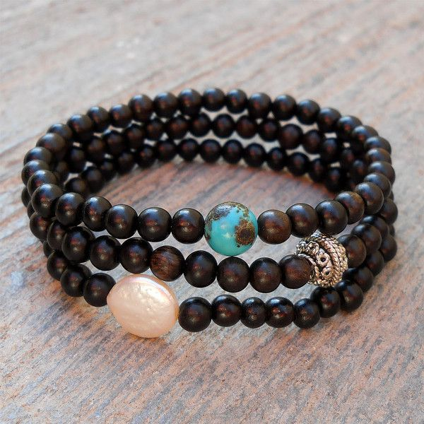 Strength, ebony set with freshwater pearl and turquoise guru beads by #lovepray #jewelry