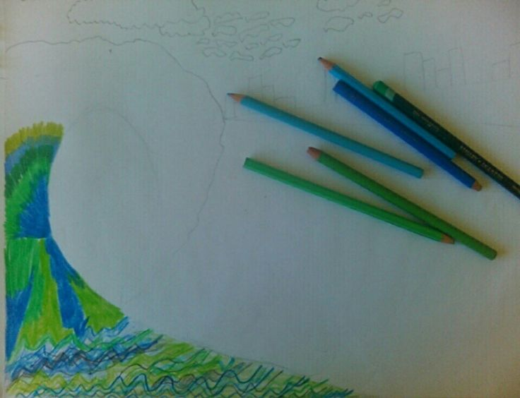 Creative day- Step 1 stretching out picture, starting apply colour.