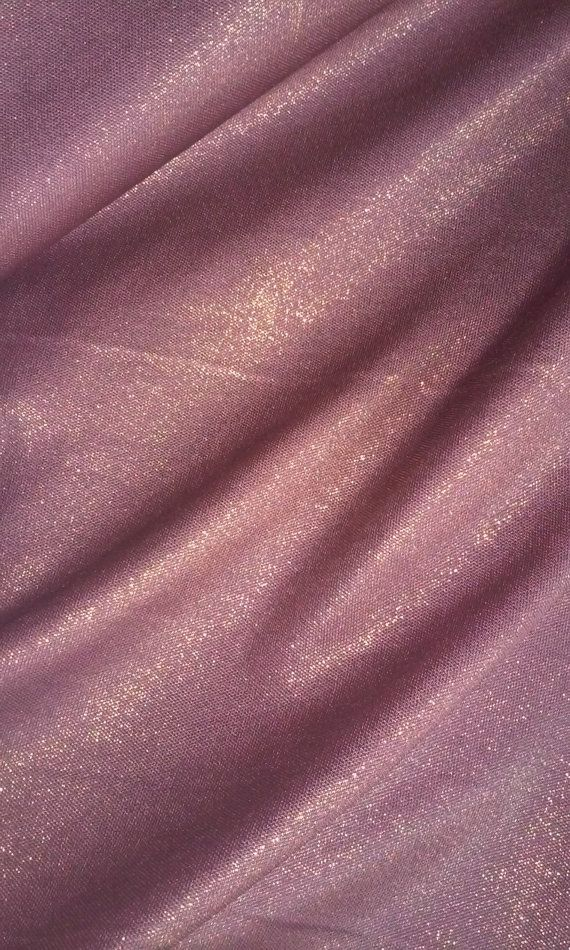 Pink and Gold Lurex Silk Jersey Fabric by the Yard or Meter - Medium Weight Stretch Silk Material