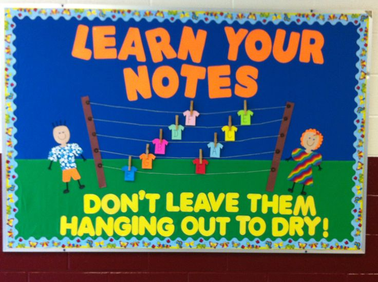 """Music Classroom Bulletin Board. """"Learn Your Notes, Don't"""