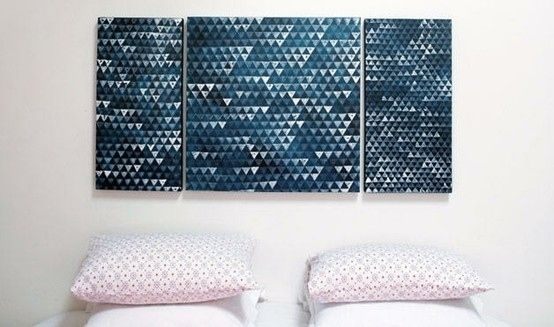 Hand stamp a geometric print. | 39 Easy DIY Ways To Create Art For Your Walls
