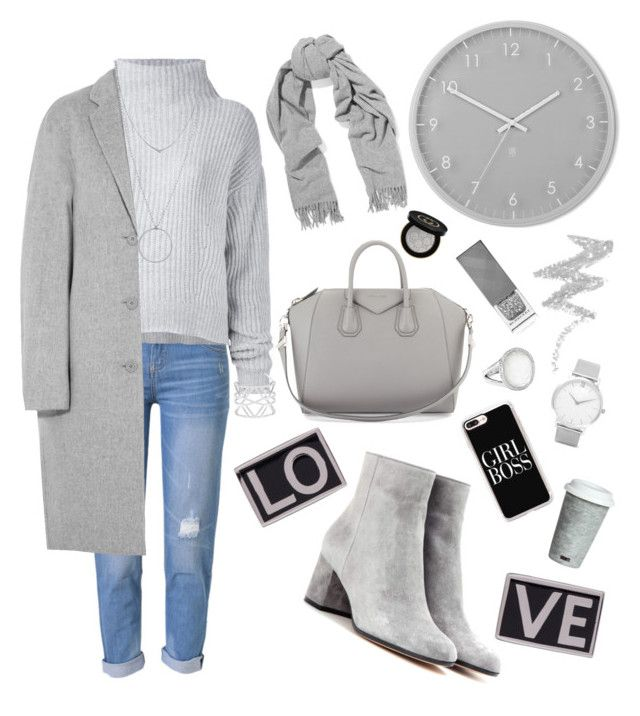 """Shades of Gray Outfit"" by mayacblls on Polyvore featuring WithChic, Gianvito Rossi, Le Kasha, Acne Studios, Umbra, Vince Camuto, Fitz & Floyd, Givenchy, Botkier and Burberry"