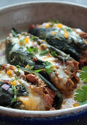 Roasted Poblanos Stuffed w/ Pulled Pork Chili Verde; I love chiles rellenos, but these are far easier to make and will have a similar taste without the frying!: Low Carb, Recipe, Roasted Poblano, Mexicans Food, Pull Pork, Stuffed Poblano, Pork Chilis, Pulled Pork, Chilis Dil