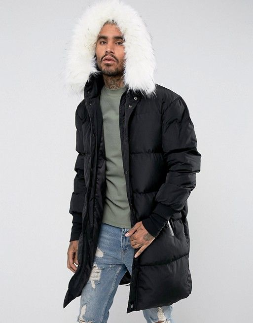 ee2cdd077 Sixth June longline puffer jacket in black with faux fur hood | asos ...