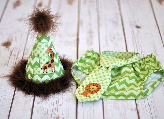 Jungle Safari Cake Smash Outfit - Little Guy Tie, Diaper Cover, Hat - Green Brown Giraffe Lion Safari Birthday Party Cake Smash Outfit