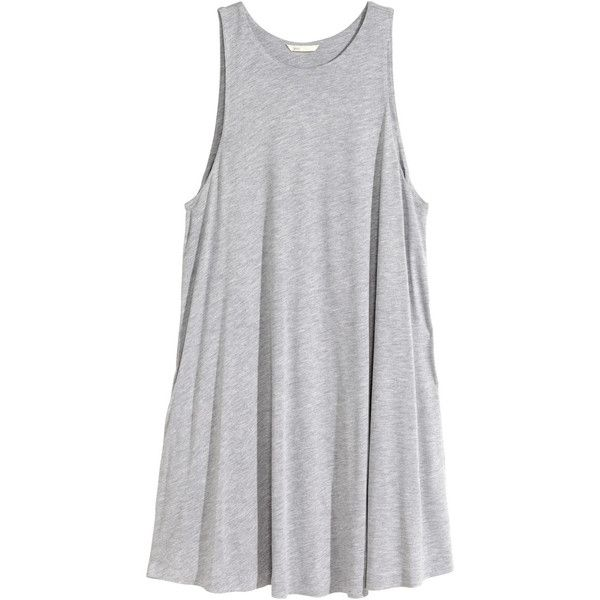 H&M A-line dress ($20) ❤ liked on Polyvore featuring dresses, tops, vestidos, h&m, grey, h&m dresses, a line dress, pocket dress, gray dress e gray sleeveless dress