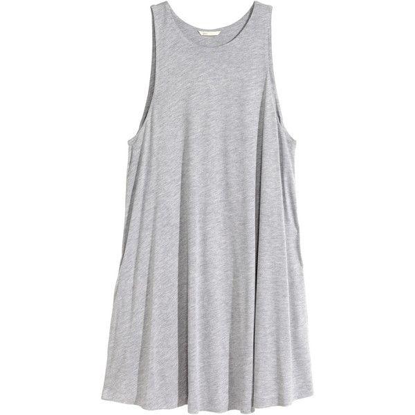 H&M A-line dress ($20) ❤ liked on Polyvore featuring dresses, tops, vestidos, h&m, grey, h&m dresses, a line dress, pocket dress, gray dress e gray sleeveless dress