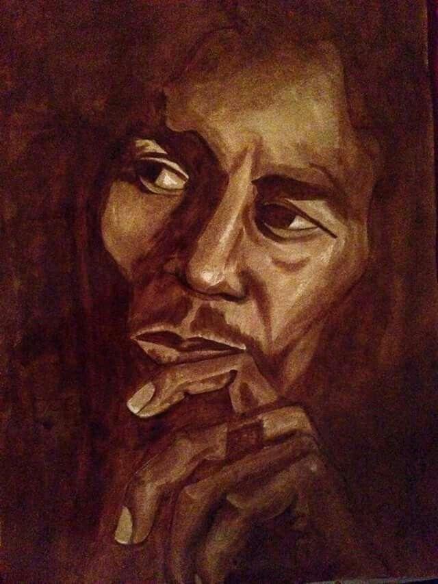 My first coffee paint Bob Marley :-)