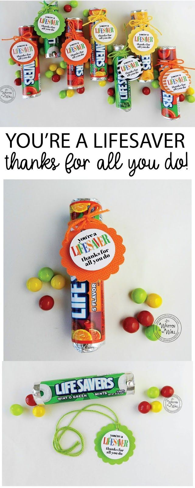 Teacher Appreciation Nurse appreciation Employee Recognition Thank you gifts, You're a Lifesaver, Thanks for all you do Tags Lifesaver candy