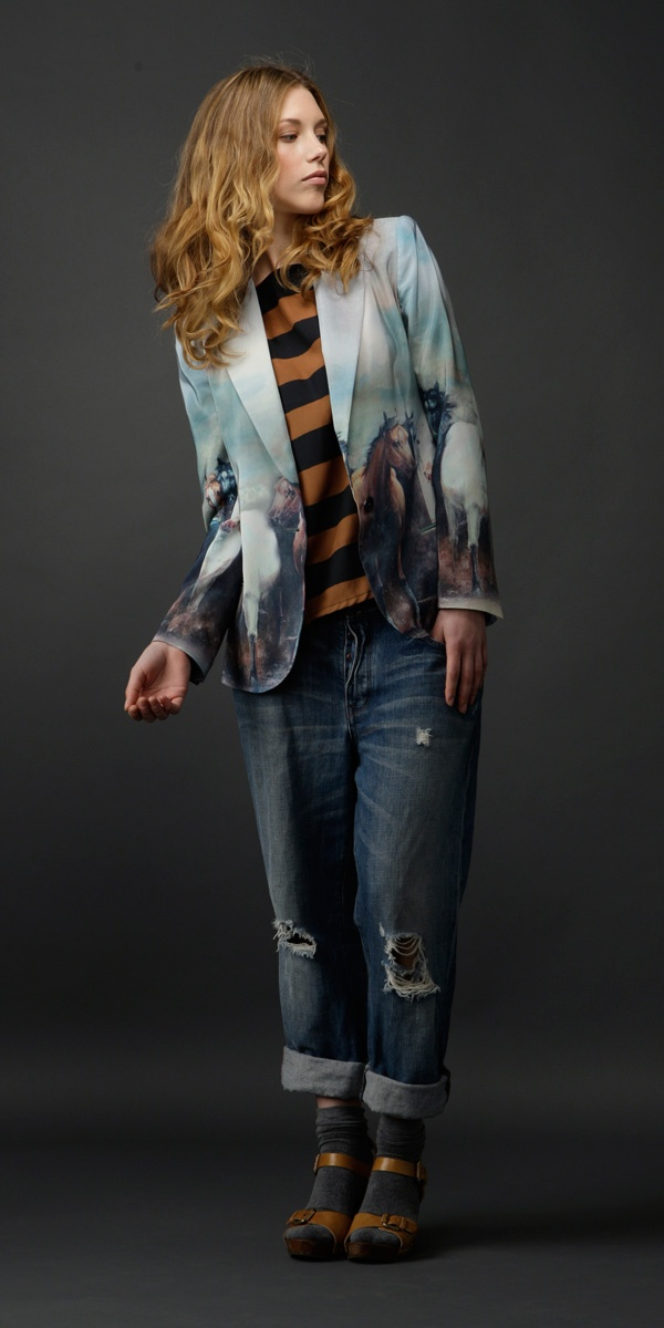 Stallion relaunch special! Use code stall762pint to get 15% off the range on our website ($505 for this silk blazer). Find it at http://www.milkfromathistle.com/collections/stallion-print . This Pinterest special is available for July '12 only