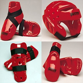 7 Piece ProForce Lightning Karate Tae Kwon Do Sparring Gear Pads Set Red Adult