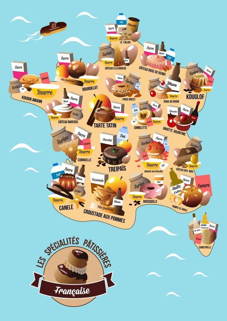 CARTE DE FRANCE GOURMANDE   Carte de france, Les régions de france et France