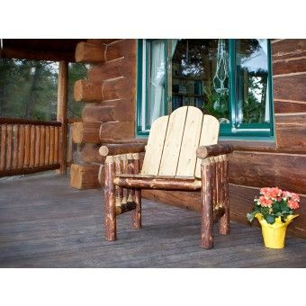Glacier Country Log Deck Chair. Rustic Outdoor FurnitureLog ...