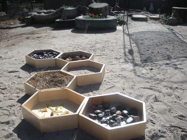 "Fabulous sensory path in gorgeous hexagonal boxes at Karana Early Education Centre ("",)"
