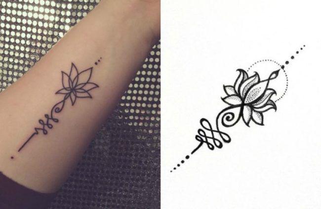 buddhistische symbole bedeutung unalome handgelenk lotus. Black Bedroom Furniture Sets. Home Design Ideas