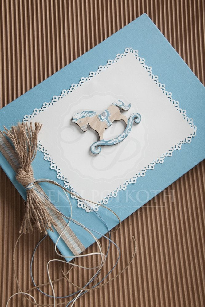 Handpainted rocking horse theme guest book