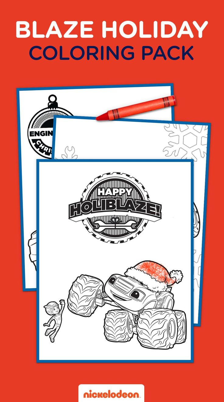 Print seven pages of blazing holiday coloring fun for your preschooler! On your marks, get set, SNOW! Blaze into the holidays with this free printable coloring pack. Kids can get in the spirit of the season by coloring in Blaze, Pickle, Stripes, and more of their favorite Monster Machines.