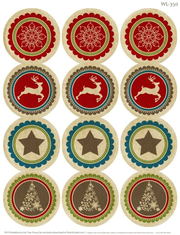 free christmas labels by Erin Rippy of InkTreePress.com. Editable fillable PDF.