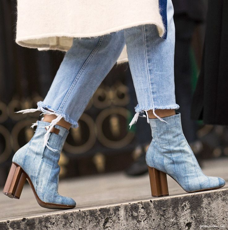 Model River Island Blue Denim Patchwork Heeled Ankle Boots In Blue  Lyst