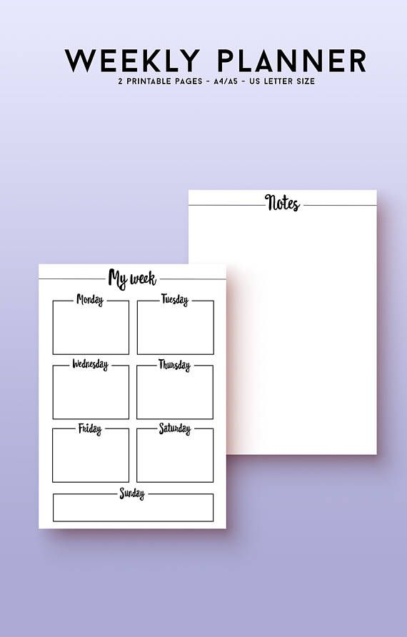 This printable weekly planner is in a clean and beautiful style that leaves room for you to organize and plan your life the way you want it! This weekly spread includes a weekly overview for appointments and evens, as well as a blank notes page for lists and thoughts.