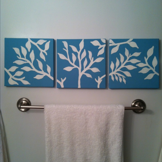 Simple Diy Canvas Paintings For The Bathroom Some Bright Pop Of Color For Upstairs Bath Stencil