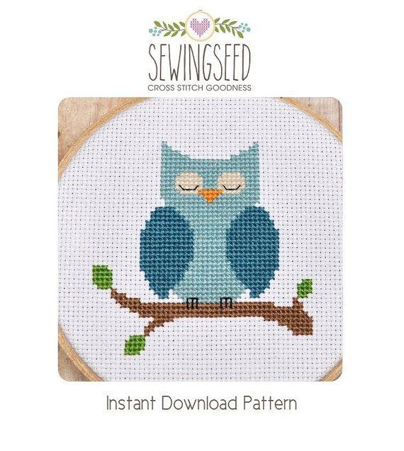 Cross Stitch Pattern Owl Cross Stitch Blue Owl di Sewingseed