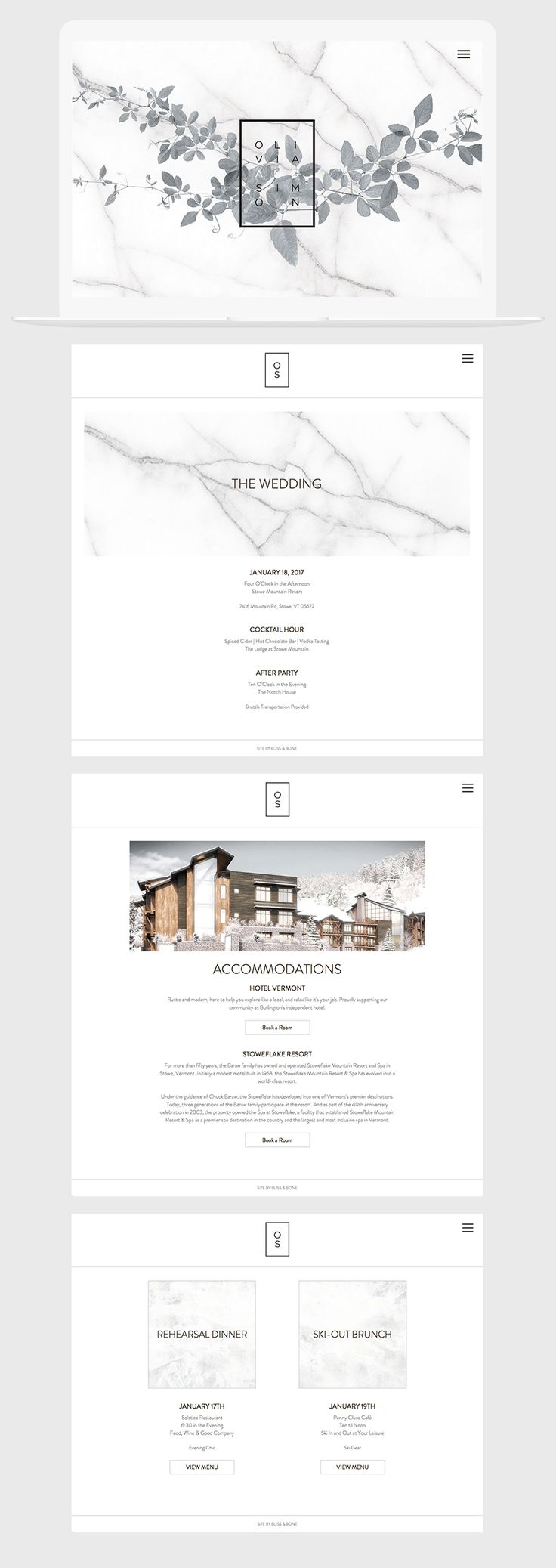 Carrara Vineyard Event + Wedding Website / Marble / Modern / Neutral / Minimal / Black & White / Customizable