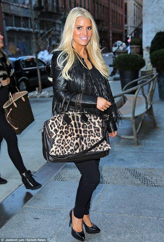 Jessica Simpson wearing Celine Triptyque Leopard Print Calf Hair ...